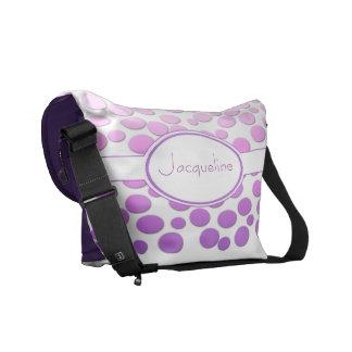 Polka Dots with Monogram~ Pink to purple polka dot Messenger Bags
