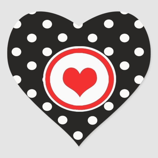 Polka Dots with Red Heart Heart Sticker