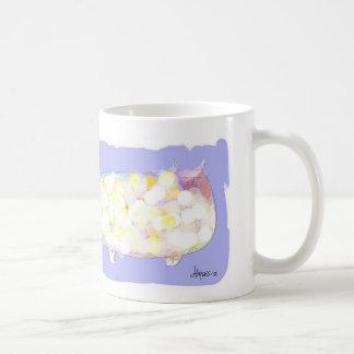 polka dotted cat basic white mug