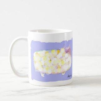 polka dotted cat coffee mug