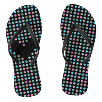 Polka dotted with one black heart flip flops