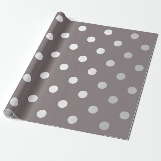 Polka Small Dots Brown Maroon Beige Silver Grey Wrapping Paper