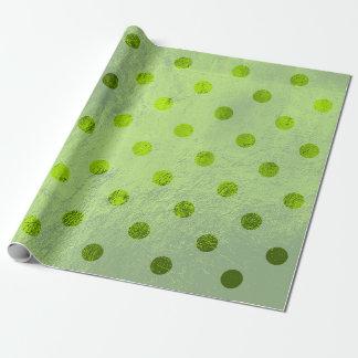Polka Small Dots Glass Metallic Greenery Grass Wrapping Paper