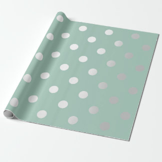 Polka Small Dots Mint Green Pastel Silver Gray Wrapping Paper