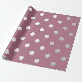 Polka Small Dots Plum Purple Pastel Silver Gray Wrapping Paper