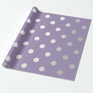 Polka Small Dots Purple Plum Pastel  Silver Gray Wrapping Paper