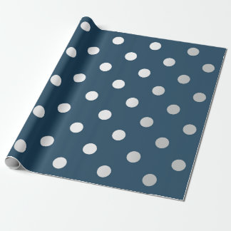 Polka Small Dots Silver Gray VIP Teal Blue Navy Wrapping Paper