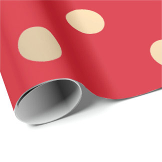 Polka Small Dots Vivid Red Pastel Foxier Gold Ivor Wrapping Paper