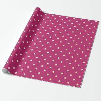 Polka Tiny Small Dots Foxier Vivid Pink Peony Rose Wrapping Paper