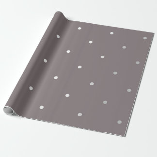 Polka Tiny Small Dots Gray Silver Monochromatic Wrapping Paper