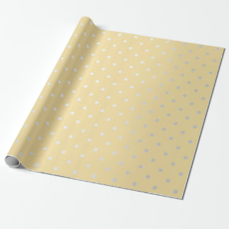 Polka Tiny Small Dots Gray Silver Yellow Pastel Wrapping Paper