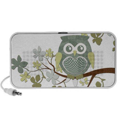 Polka Tree Owl Doodle Travel Speakers