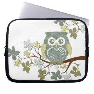 Polka Tree Owl Electronics Bag Laptop Sleeve
