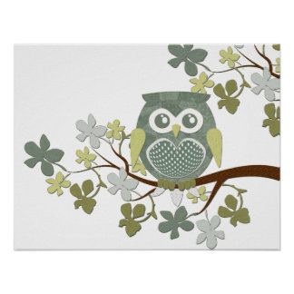 Polka Tree Owl Poster