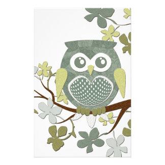 Polka Tree Owl Stationery