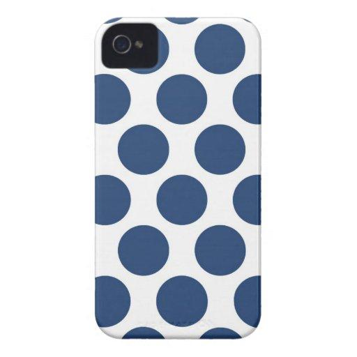 Polkadot bleu-foncé coque iPhone 4 Case-Mate