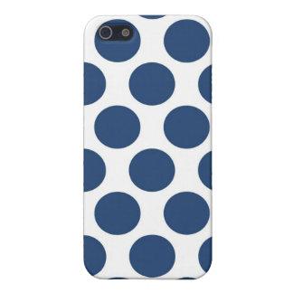 Polkadot bleu-foncé étuis iPhone 5