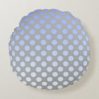 Polkadot Blue Silver Round Pillow