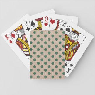 polkadot burlap green holiday playing cards