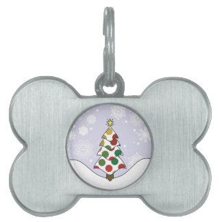 Polkadot Christmas Tree Art Pet Name Tag