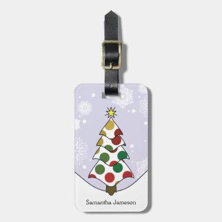 Polkadot Christmas Tree Art With Pattern Luggage Tag
