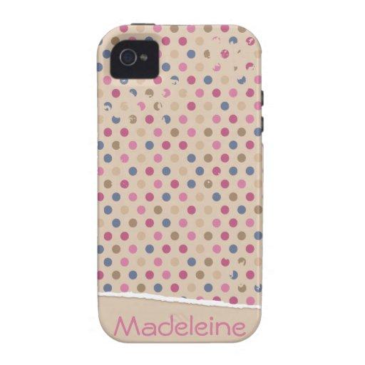 Polkadot de rose de beige coque iPhone 4