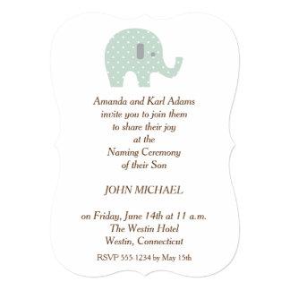 PolkaDot Elephant baby Boy Naming Ceremony Invite