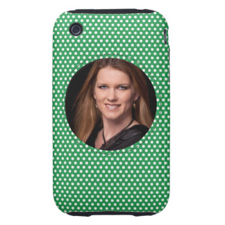 Polkadot Frame in green Tough iPhone 3 Cases