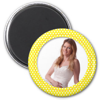 Polkadot Frame in yellow 2 Inch Round Magnet
