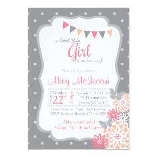 Polkadot Girl Baby Shower invitations