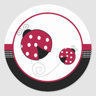 Polkadot Ladybugs Envelope Seals Round Sticker