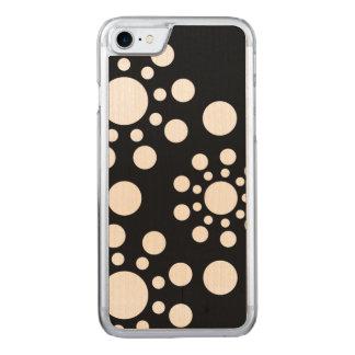 Polkadot noir et blanc coque en bois iPhone 7