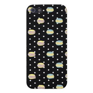 Polkadot noir et blanc de Macaron iPhone 5 Case