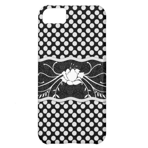 Polkadot noir et blanc et s'est levé étui iPhone 5C