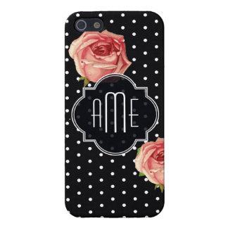 Polkadot noir et blanc floral étuis iPhone 5