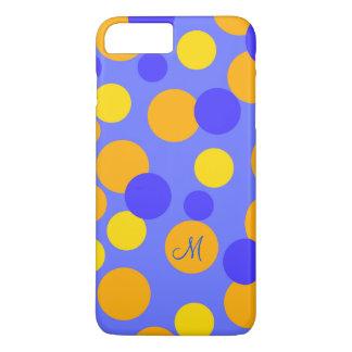Polkadot personnalisable et rayures en jaune bleu coque iPhone 8 plus/7 plus