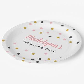 Polkadot Pink Gold & Black Paper Plates