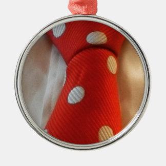 polkadot slipsie metal ornament