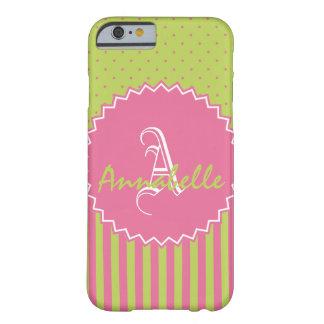 Polkadot vert et rose barre le nom et le coque barely there iPhone 6