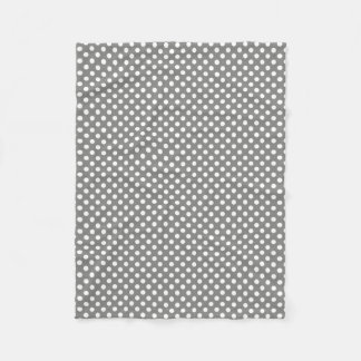 Polkadotted Design Battleship Grey Fleece Blanket