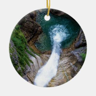 Pollat River Waterfall - Neuschwanstein Castle Round Ceramic Ornament