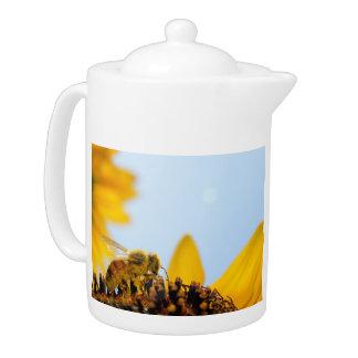 Pollen-Coated Honey Bee on a Sunflower Teapot