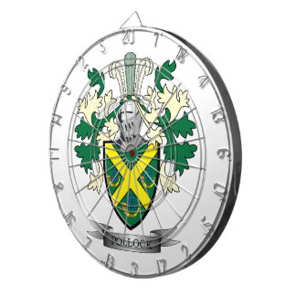 Pollock Family Crest Coat of Arms Dart Board
