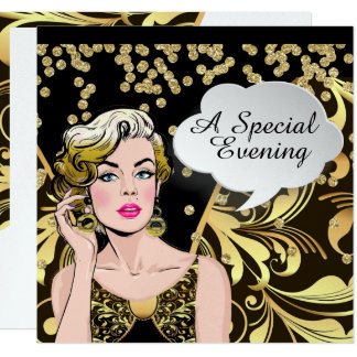 Polly Hosts a Grand Party Pop Art Invitation