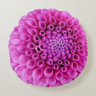 Polly Pink Dahlia Round Pillow