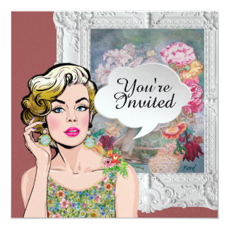 Polly Wants a Party Pop Art Lady Floral Invitation
