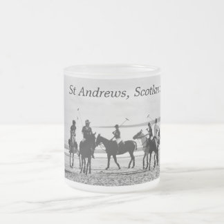 Polo Match St Andrews West Sands Beach B&W Photo Frosted Glass Coffee Mug