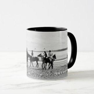 Polo Match St Andrews West Sands Beach B&W Photo Mug