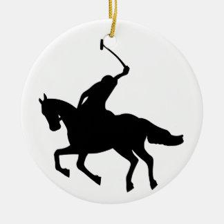 Polo player on horseback. ceramic ornament