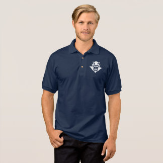 Polo Shirt, White on Blue
